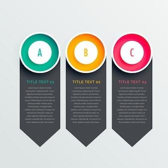 Infografía con tres banners geométricos