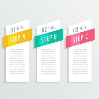 Infografía con tres pasos brillantes