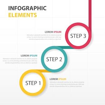Infografía con tres pasos circulares