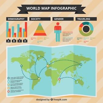 Infografía con un mapa y gráficos