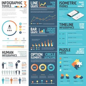 Infografía corporativa elementos vectoriales en colores planos de negocios