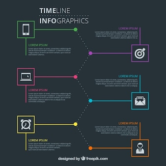 Infografía cronología moderna y elegante