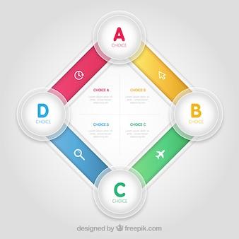 Infografía cuadrada colorida