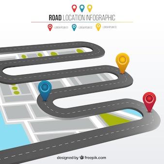 Infografía de 3d de localización de carretera