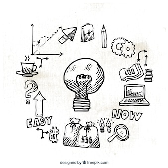 Infografía de bombilla con iconos dibujados a mano