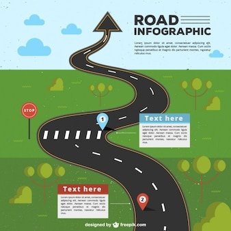 Infografía de carretera con flecha