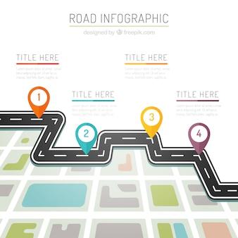 Infografía de carretera de colores