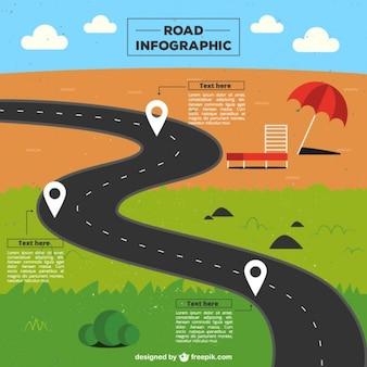 Infografía de carretera hacia la playa