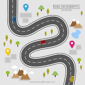 Infografía de carretera para viajeros