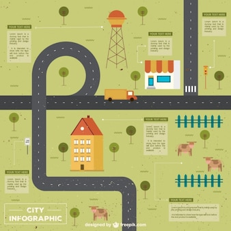 Infografía de carretera plana
