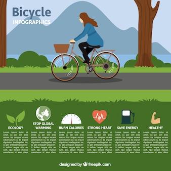 Infografía de chica dibujada a mano en bici en un parque