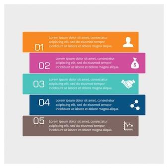 Infografía de cinco pasos a todo color