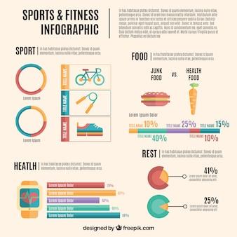 Infografía de deportes y fitmess en diseño plano