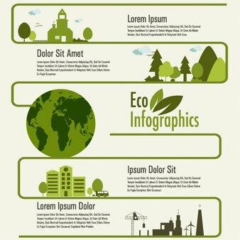 Infografía de ecología en tonos verdes