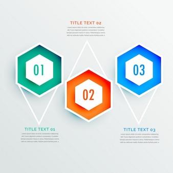 Infografía de elegante forma hexagonal