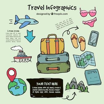 Infografía de elementos de viaje dibujados a mano