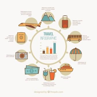 Infografía de elementos de viaje en estilo vintage