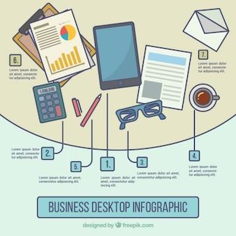 Infografía de escritorio de negocios con elementos