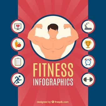 Infografía de fitness con iconos