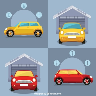 Infografía de garaje de coches