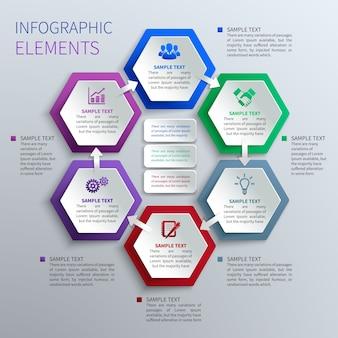 Infografía de hexágonos de papel