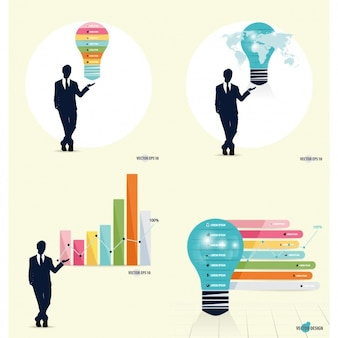 Infografía de hombre de negocios con estadísticas