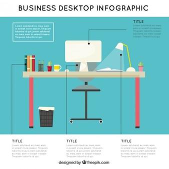 Infografía de lugar de trabajo de negocios en diseño plano