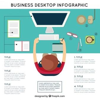 Infografía de lugar de trabajo en una vista superior