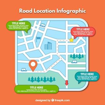 Infografía de mapa de carretera dibujada a mano