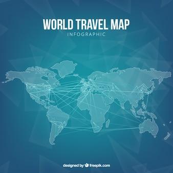 Infografía de mapa de viaje azul