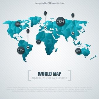 Infografía de mapa del mundo azul