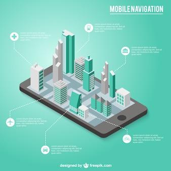 Infografía de navegación de móbil