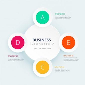 Infografía de negocios con círculos coloridos