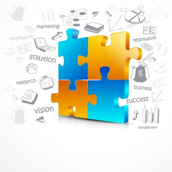 Infografía de negocios con cuatro piezas de rompecabezas