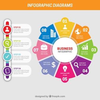 Infografía de negocios con diferentes pasos