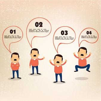 Infografía de negocios con hombre de negocios en cuatro posturas