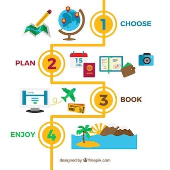 Infografía de pasos con elementos de viaje