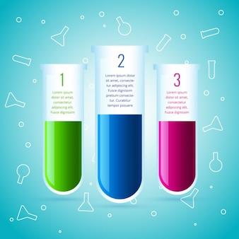 Infografía de química hecha con tubos de laboratorio
