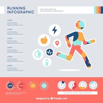 Infografía de running con diseño multicolor