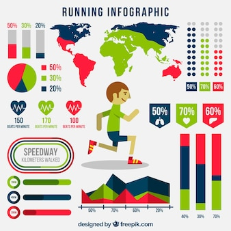 Infografía de running con mapa del mundo