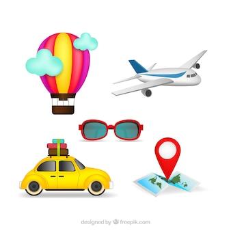Infografía de transportes y elementos de viaje