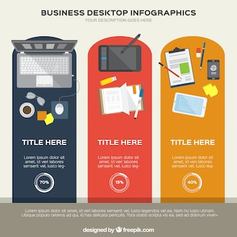 Infografía de varios escritorios de negocios