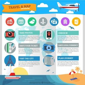 Infografía de viaje y mapa en diseño plano