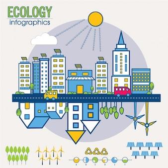 Infografía ecológica con edificios