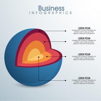 Infografía empresarial de esfera abierta