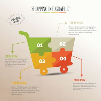Infografía empresarial, rompecabezas de carrito de la compra