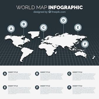 Infografía en blanco y negro de mapa del mundo
