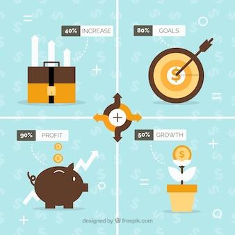 Infografía financiera con cuatro opciones en diseño plano