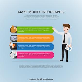 Infografía financiera con hombre de negocios