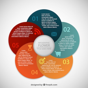 Infografía floral de colores